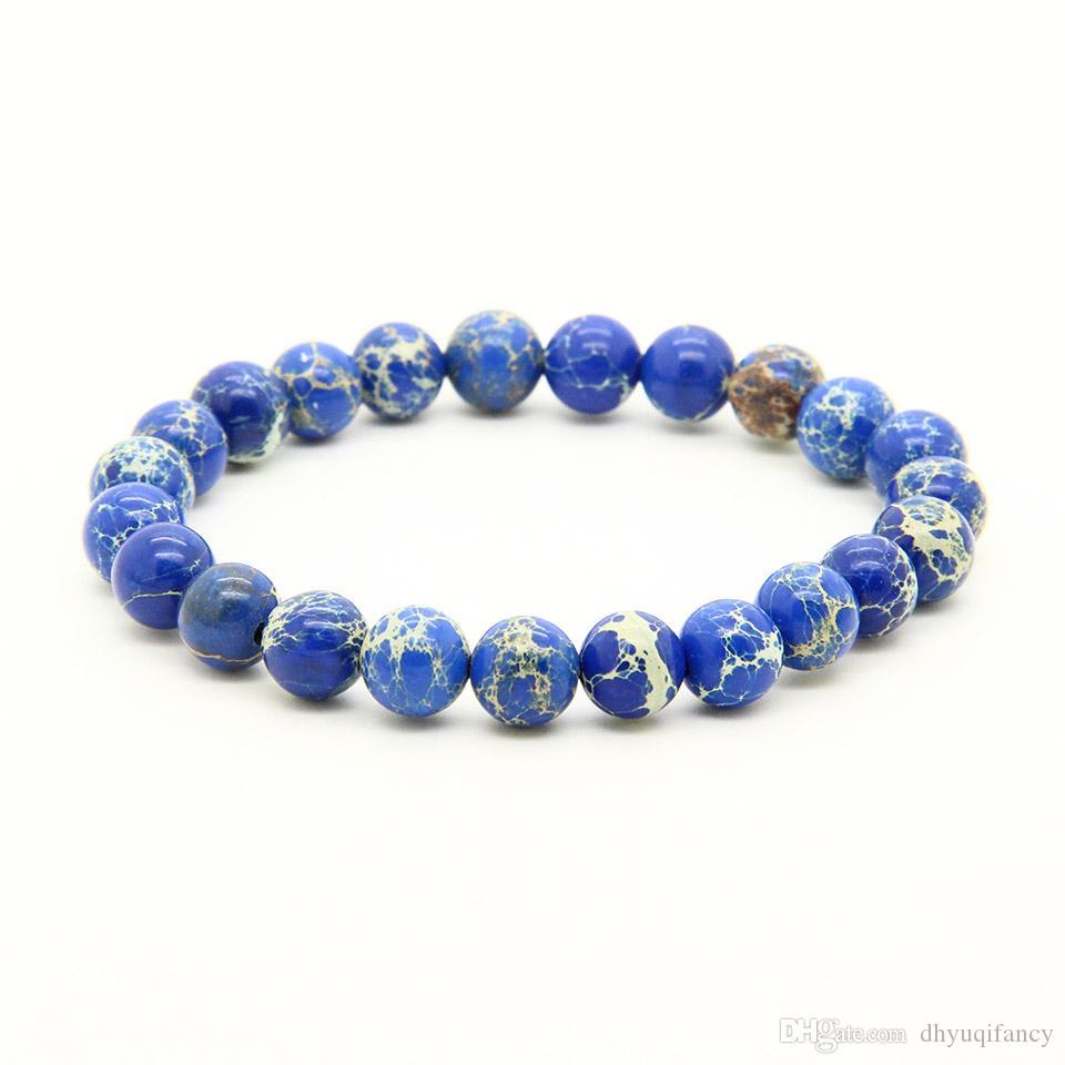 Alta Qualidade Mens Pulseira Bangle Mix Cores 8mm Boa Qualidade Azul, Vermelho, Preto, Sedimento Mar Pedra Casais de Energia pulseiras