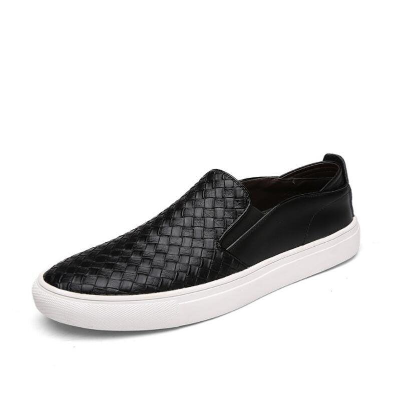 Новая Мода Высокого Качества Натуральная Кожа Обувь Мужчины Скольжения на Мокасины Мягкие Тканые Мокасины Мужские Gommino Обувь Повседневная zapatillas