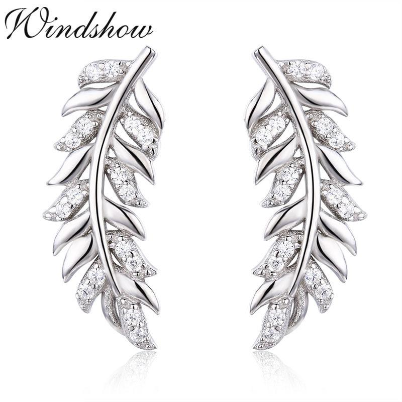 925 Sterling Silver Feather Leaf Cz Ear Climber Stud Earrings For Women Girls Jewelry Orecchini Aros Aretes Ear Jacket Oorbellen Y19062703