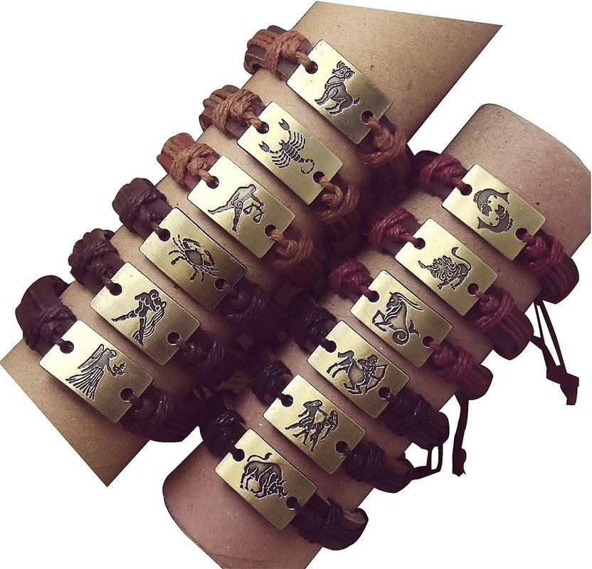 Horoskop Lots 6pcs Schiff frei justierbare unisex Armband Geschenke edlen Schmuck ZODIAC Armband Schmuck C19010801 drop
