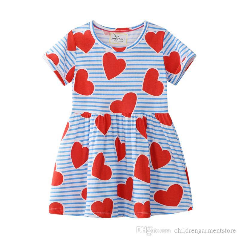 Little Girls Soft Summer Cotton Short Sleeve Dresses T Shirt Casual Cartoon Dres
