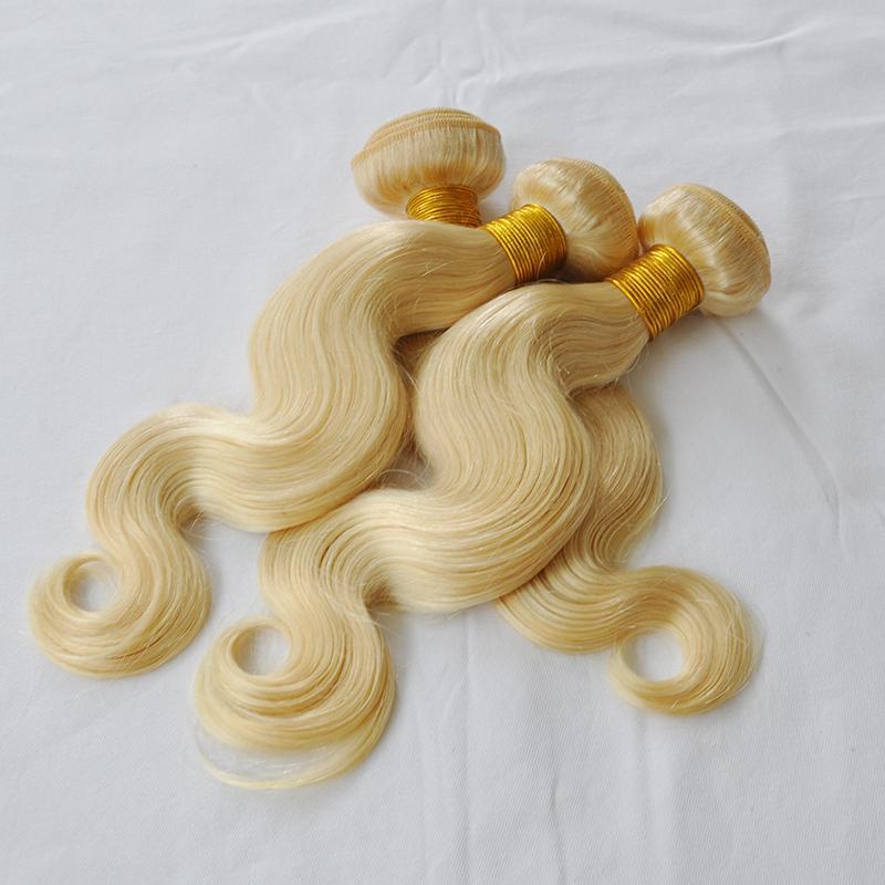 Elibess Hair Virgin Blonde Hair Bundles 3pcs 100grams/pcs Body Wave 613 Color Human Hair Weaves