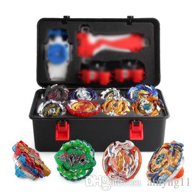 12pcs/set New Beyblade Burst Bey Blade Toy Metal Funsion Bayblade Set Storage Box With Handle Launcher Plastic Box Toys For Children