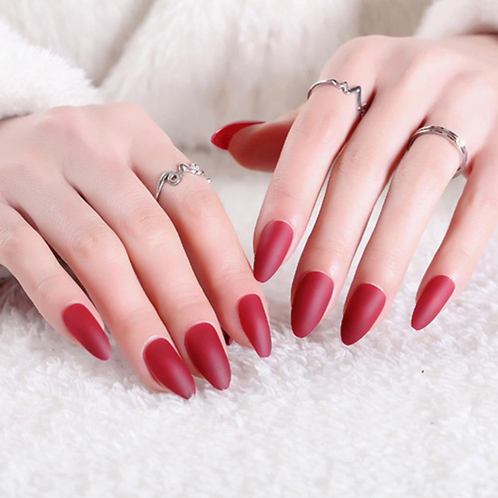 24pcs de la cubierta completa Mate extremidades falsas del clavo puntiagudo desnuda rosa suave Negro Rojo Azul uñas postizas de aguja de color caramelo puro