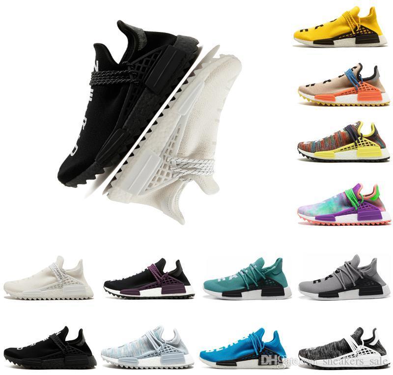 raza humana Pharrell Williams hombre del diseñador zapatillas de deporte de la BBC Negro empollón Igualdad Crema para hombre formadores holi hombres tinta nobel deportes zapatillas de deporte de Estados Unidos 5-11