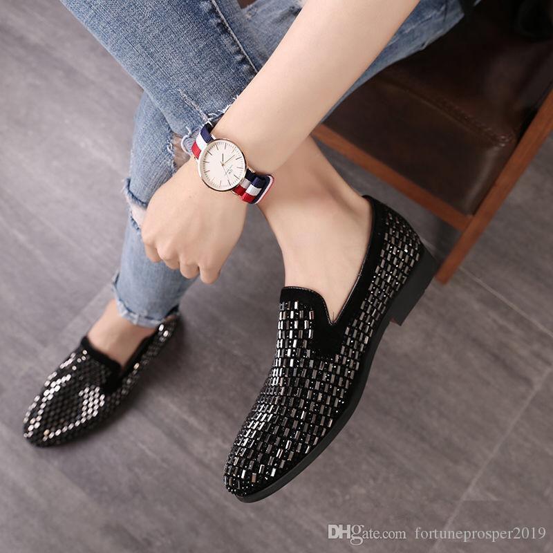 Europäische und amerikanische Modetrend Schuhe mit Diamanten koreanische Version der britischen kleinen Lederschuhe ein Fuß Le Fu Schuhe sozialen Geist eingelegt