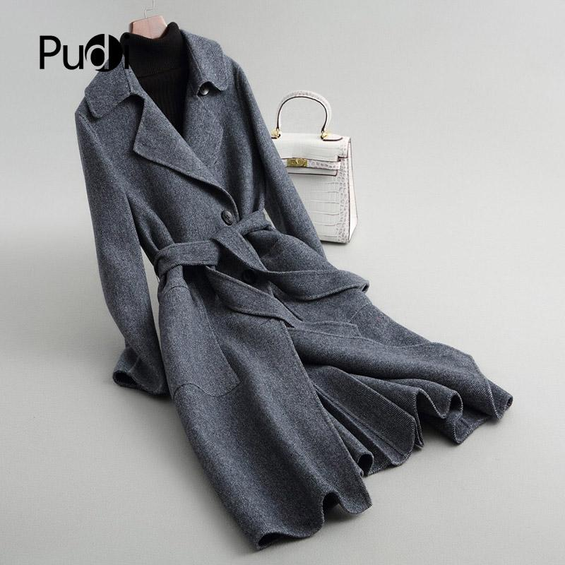 Pudi A38047 2020 Mulheres Fall / longo casaco estilo pocket lazer lã inverno lã nova moda Herringbone casaco de senhora