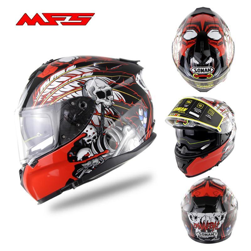 MFS 2020 Flip Up Motorcycle Helmet Double Lense Full Face Helmet Locomotive Personality Combination Off Road Helmets