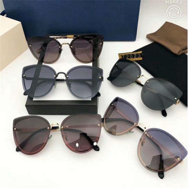 Óculos de sol de luxo de design óculos de sol óculos de design da marca G72023 Olho de gato para Mulher dos vidros UV400 5 cores opcional com caixa de alta qualidade 1012