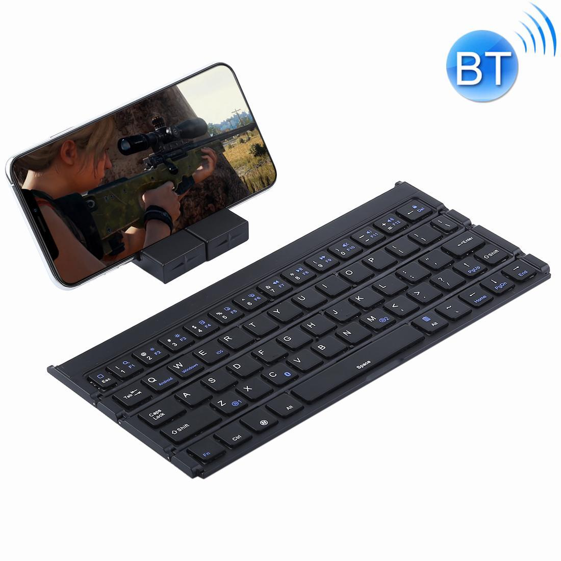 GK808 Ultra-thin Foldable Bluetooth V3.0 Keyboard, Built-in Holder, Support Android / iOS / Windows System