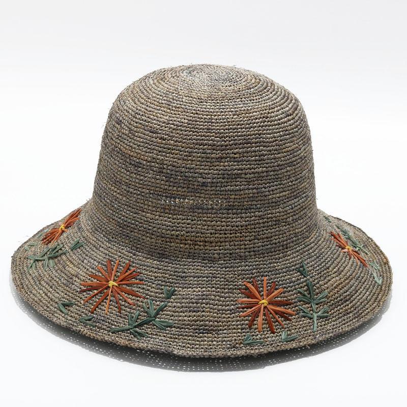 أزياء وقبعة من القش رافي الجديدة 2019 هي المنسوجة يدويا قبعة من القش لقضاء اجازة، وقبعة الشاطئ، واقية من الشمس على شاطئ البحر ظلة قبعة طوي