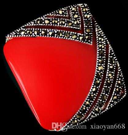 28MMX30MM Marcasite 925 Sterling Silver Red Coral Square Beads Pendant gem Onxy stone 925 silver Fine Jewelry