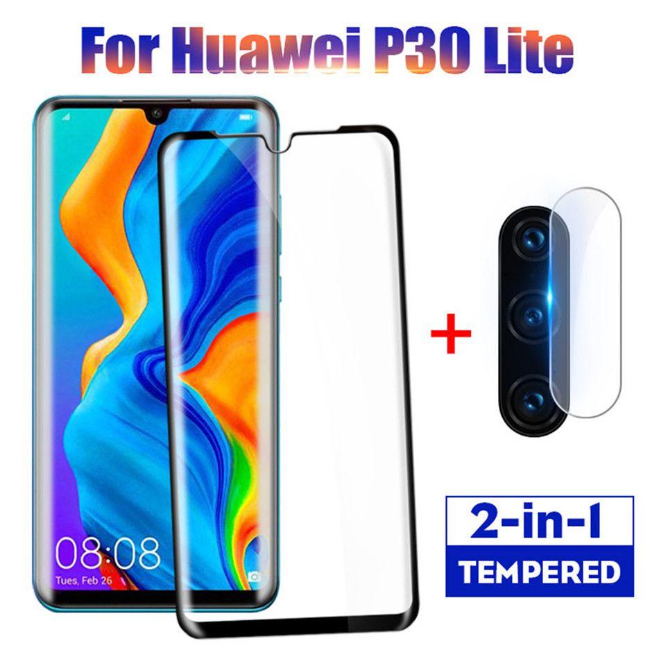 2 en 1 Protecteur d'écran de protection en verre pleine pour Huawei P30 Lite Pro Retour objectif de la caméra le film en verre trempé Sur Huawei P30 cas Lite