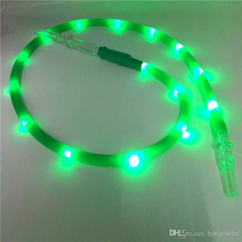 Auffallende grüne Farbe LED-Taschenlampe Silikon-Smoke-Hukahn Shisha-Schlauch-Rohrzubehör für das Rauchen mit Acryl-Mundstück