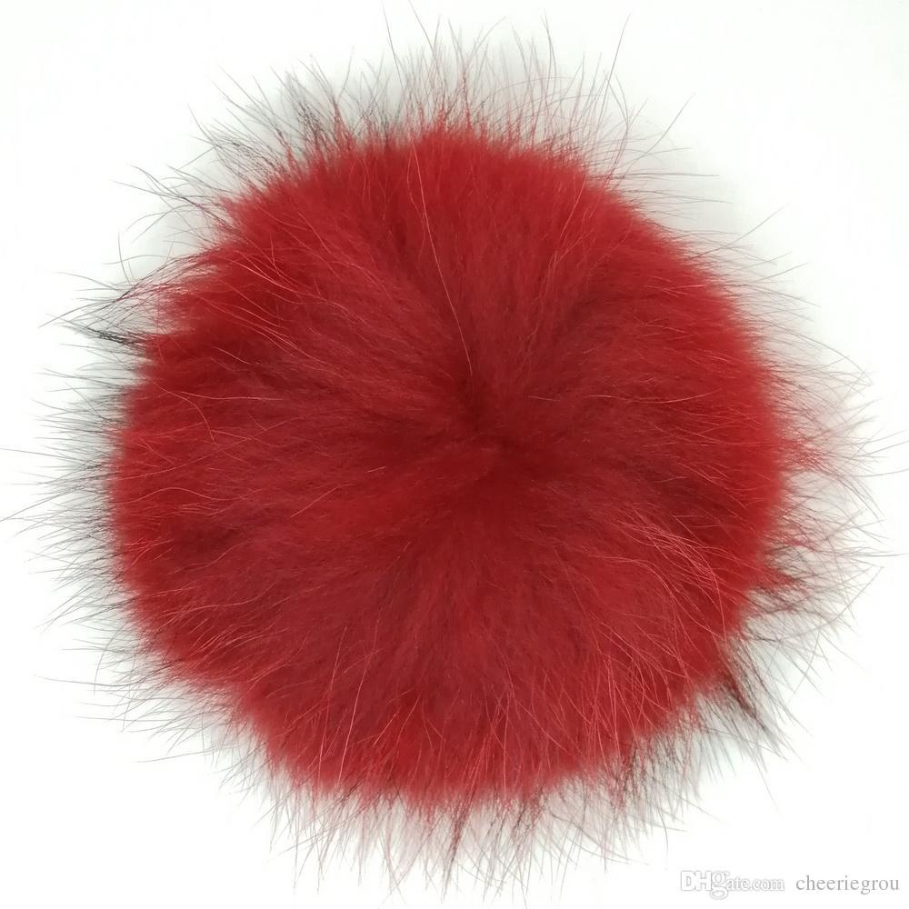 Fábrica Atacado Fox Fur Pompom Ou Pele De Guaxinim Pom Pom Bola natural personalizado cores com botão de pressão de metal