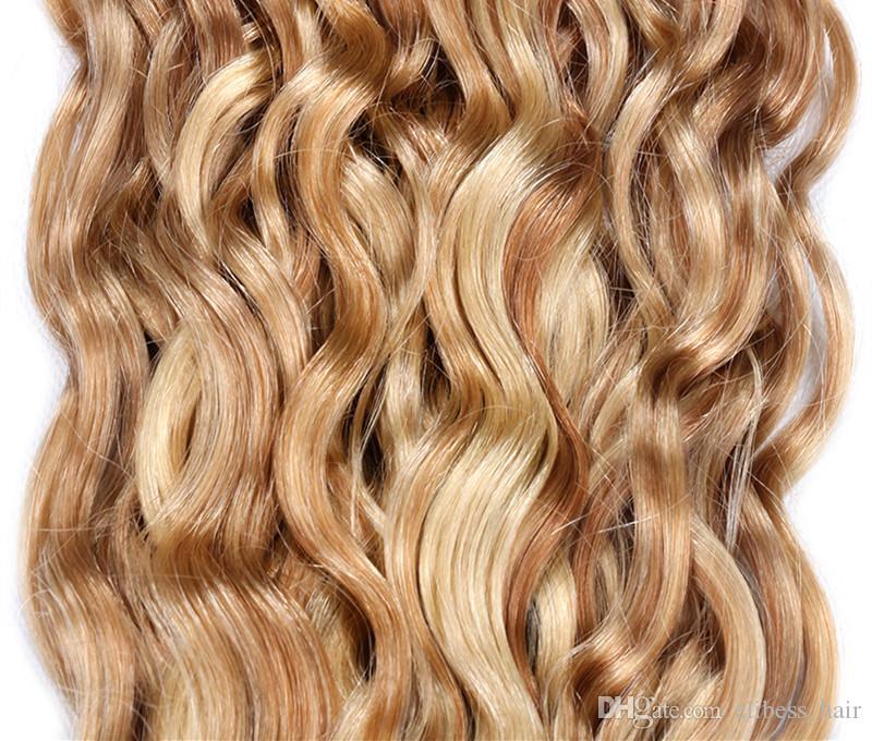 Top-Qualität peruanisches Wasser Welle Haarbündel Menschliches Haar Bundles Keine Remy Menschenhaar-Verlängerungen 3 PC Lot Klavier 27/613, freies DHL