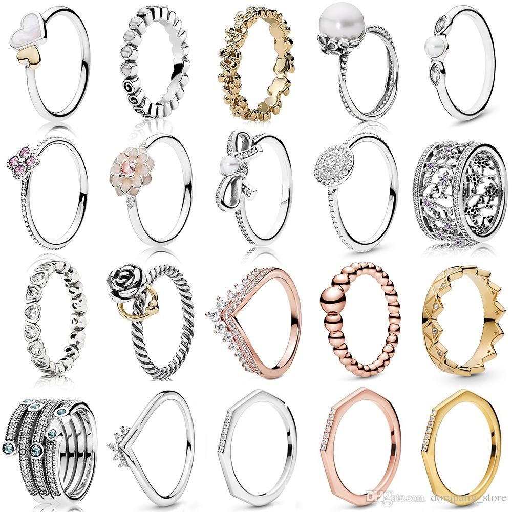 NUOVO 2019 100% 925 d'argento pandora in oro rosa principessa Wishbone Forget Me Not dell'anello dei monili regalo Fashion Europe donne originali per