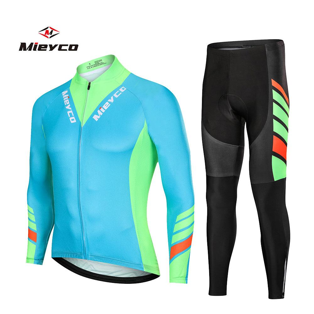 Hombres Maillots de manga larga Set desgaste de ciclo Pro Mountain bike la ropa ropa de la bicicleta de la bici del camino MTB ropa de ciclo Traje