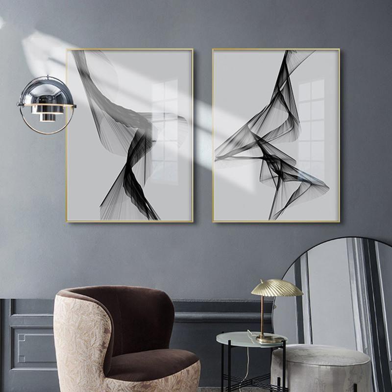 Wall Art Nordic Preto Art Branco pintura da lona Posters Prints Abstract Linha Retrato para Sala Modern Home Decor No Frame