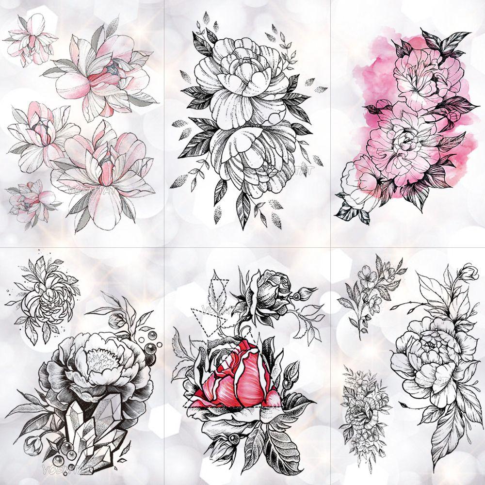 Kroki Çiçek Çiçeği Şakayık Gül Su Geçirmez Geçici Dövme Etiket Siyah Dövmeler Vücut Sanatı Kol El Kız Kadınlar Sahte Dövme T190711
