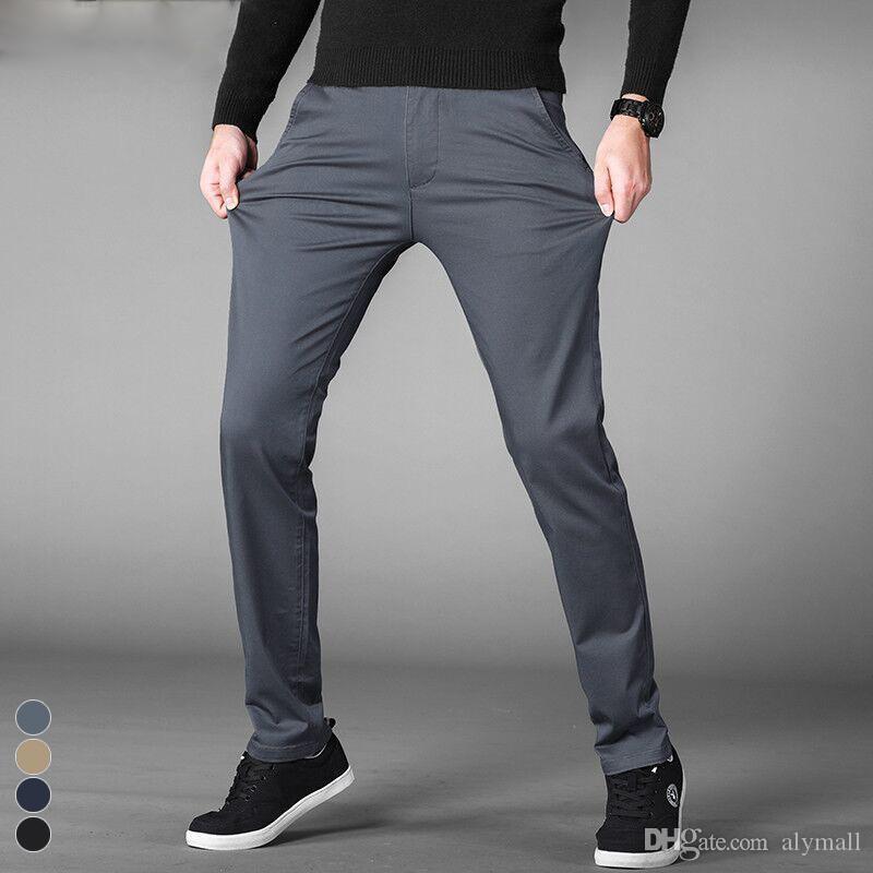 Летние тонкие повседневные брюки мужчины 2019 года новые бизнес-эластичные хлопчатобумажные брюки Slim Fit Мужской Серый хаки