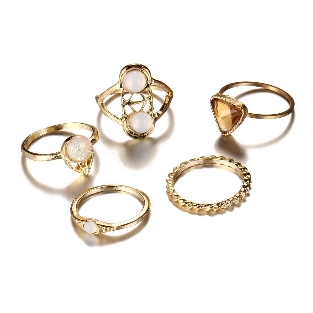 5 parti / un sacco di tendenza Anel anelli di cristallo Feminino per monili delle donne di moda Perle di metallo anello di aggancio di cerimonia nuziale Bague Femme