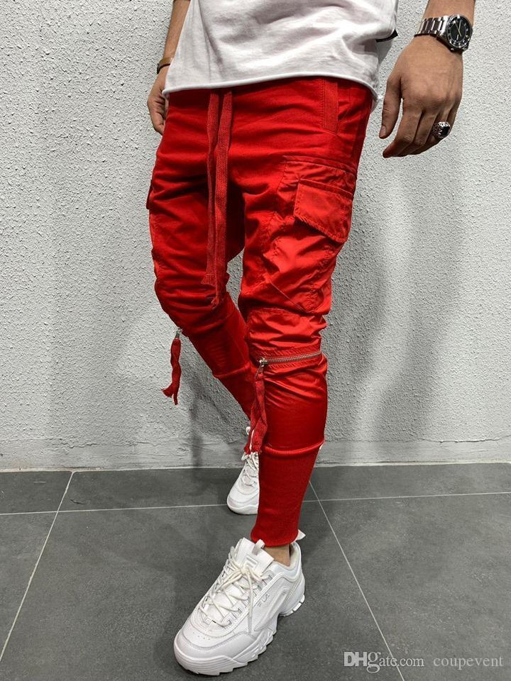 Masculina del basculador de la cremallera de los pantalones de bolsillo de diseño lápiz de los pantalones para hombre Solid color Pantalones