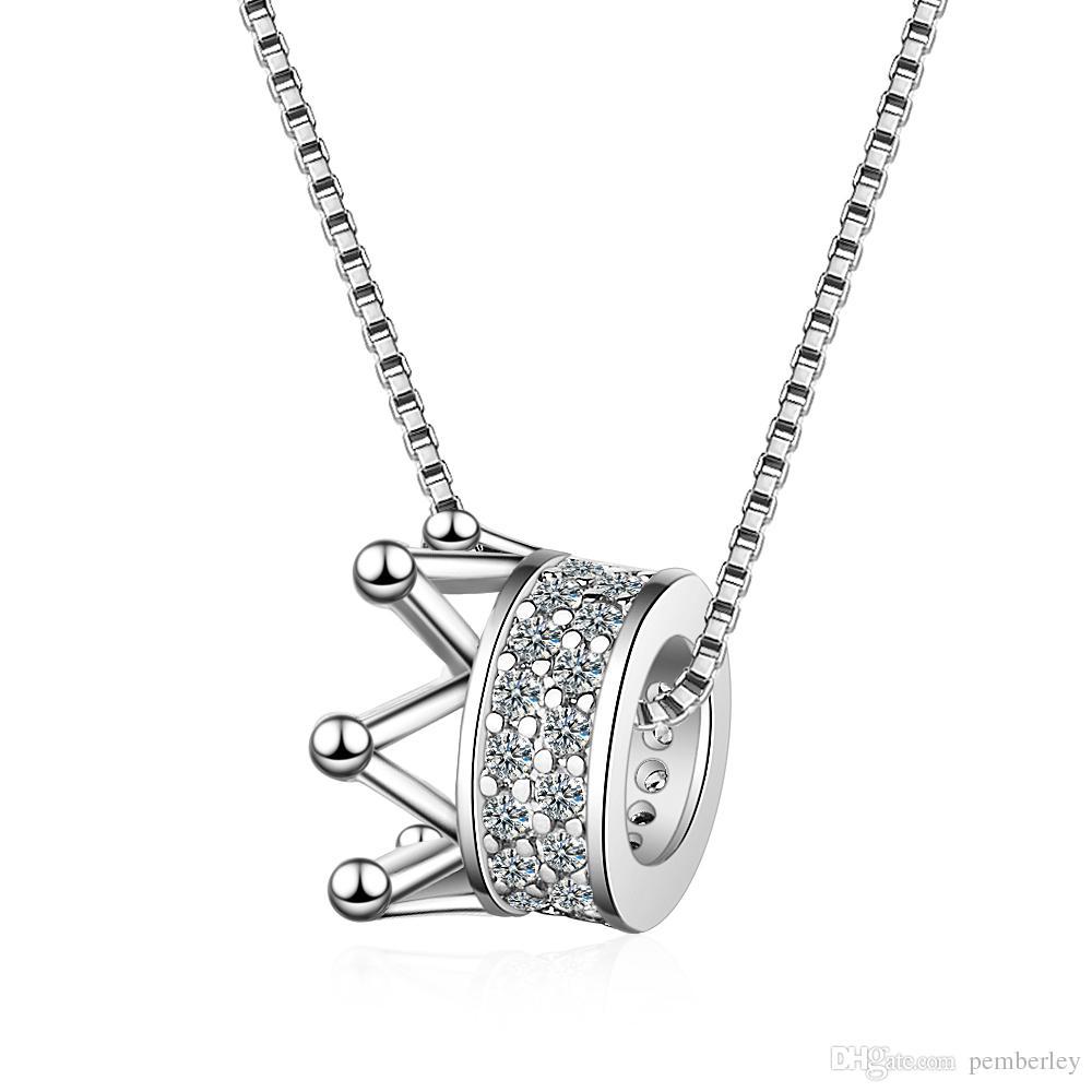 DZ360 Die weibliche koreanische Version der Halskette der kleinen neuen eingelegten Diamantkronenhalskettenart und weise INS-Königinart kurze Schlüsselbeinkette