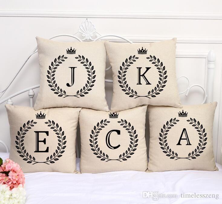 26 Lettera decorazione della casa copridivano auto copertura del cuscino di stampa caso cuscino vita cuscino federa federa