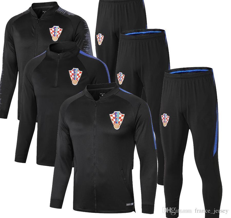 كرواتيا سترة طويلة الأكمام البدلة كيت لكرة القدم جيرسي التدريب موحدة 18/19 كرة القدم كرواتيا رياضية سترات + سروال
