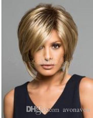 fashion Synthetic Hair Wigs women Wig side fringe Short lady wigs Fluffy gold short straight hair FZP180