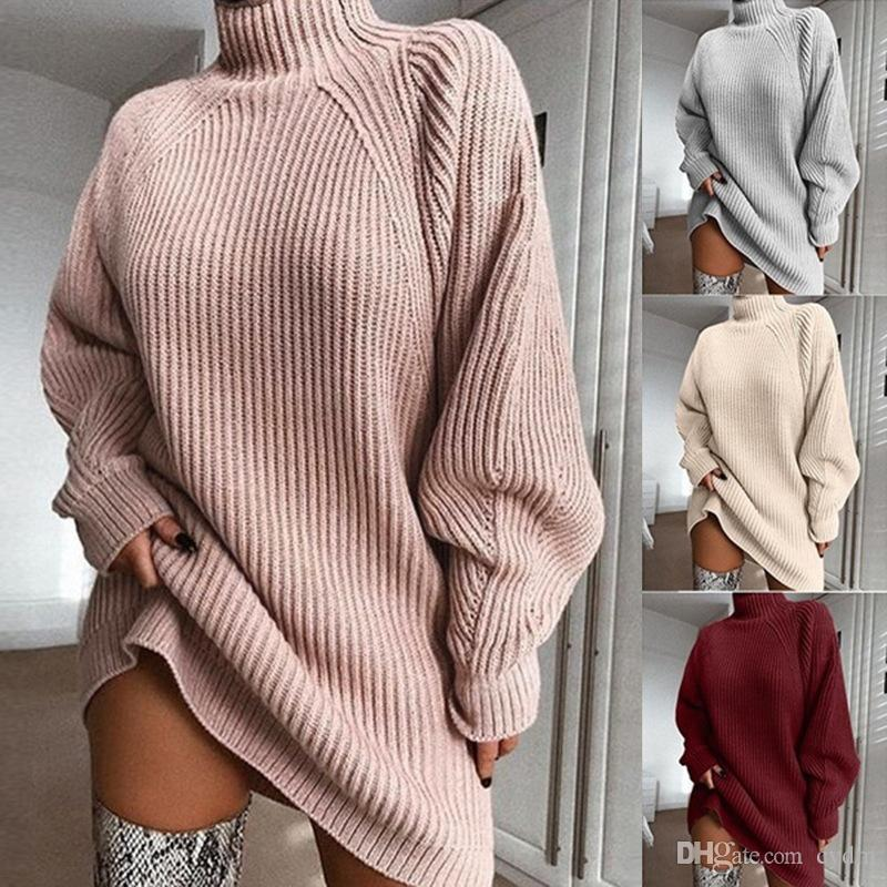 Spot 2019 autumn and winter explosions raglan sleeves solid color turtleneck sweater dress, support mixed batch