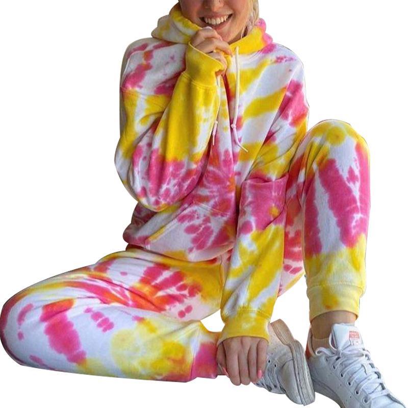 Новый дизайн женщин 2 шт печать наряд галстук-краситель с длинными рукавами балахон Девочки Одежда наборы зимой