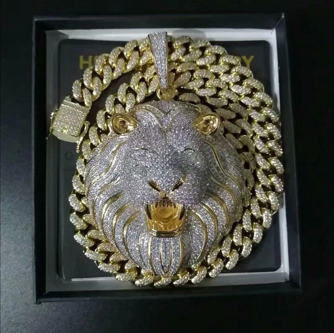 مجوهرات رجالي الهيب هوب مثلج خارج قلادة فاخر مصمم قلادة الماس بلينغ الكوبية ربط سلسلة كبيرة المعلقات الحيوان الأسد مغني الراب اكسسوارات