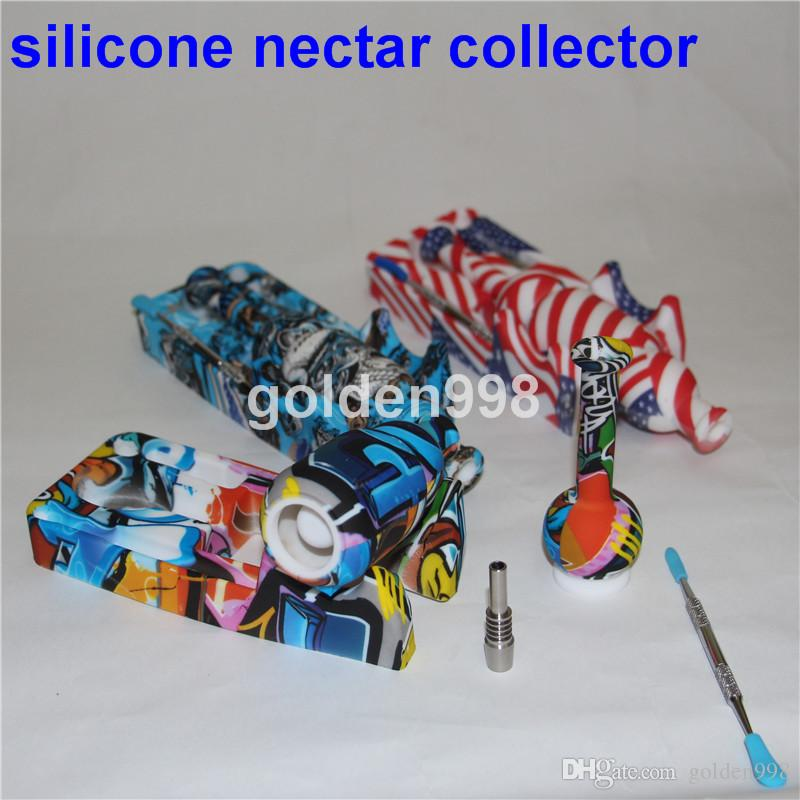 Silikon Nektar Collector-Kits mit 10 mM Gelenke Ti Nagel Nektar Kollektor Bohrinseln Silikon Glasbongs Wasser Rohr dab freien Versand Rigs