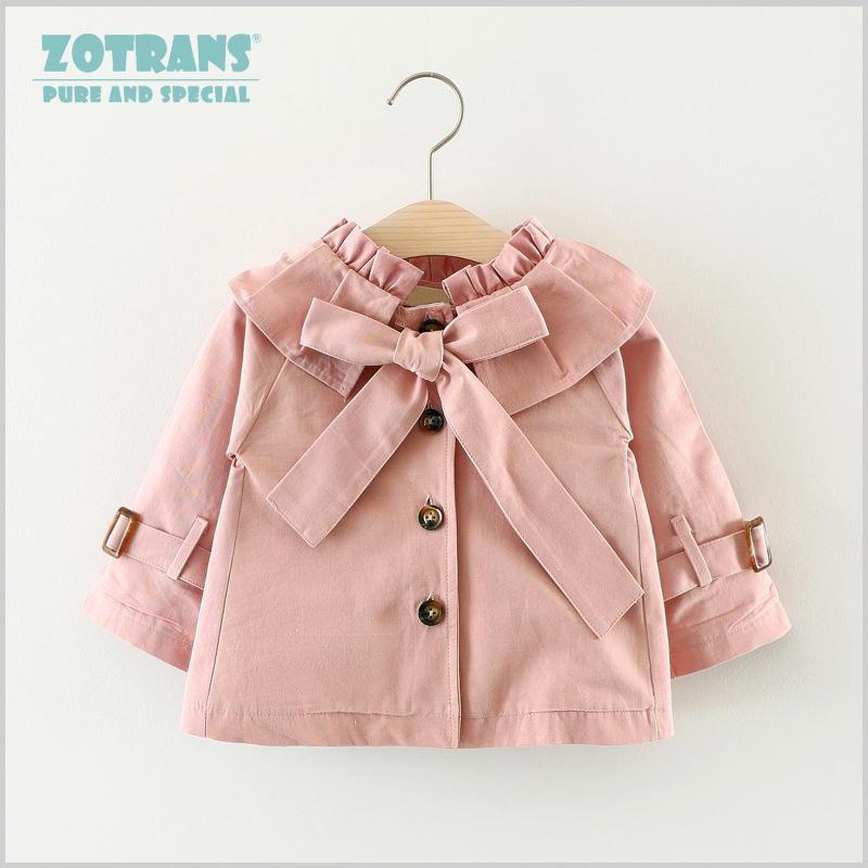 Newborn Baby Girls Coat Cool Jackets Bow Autumn Ruched Infant Toddler Windbreaker Spring Kids Outerwear Children Coat 0-36m J190509