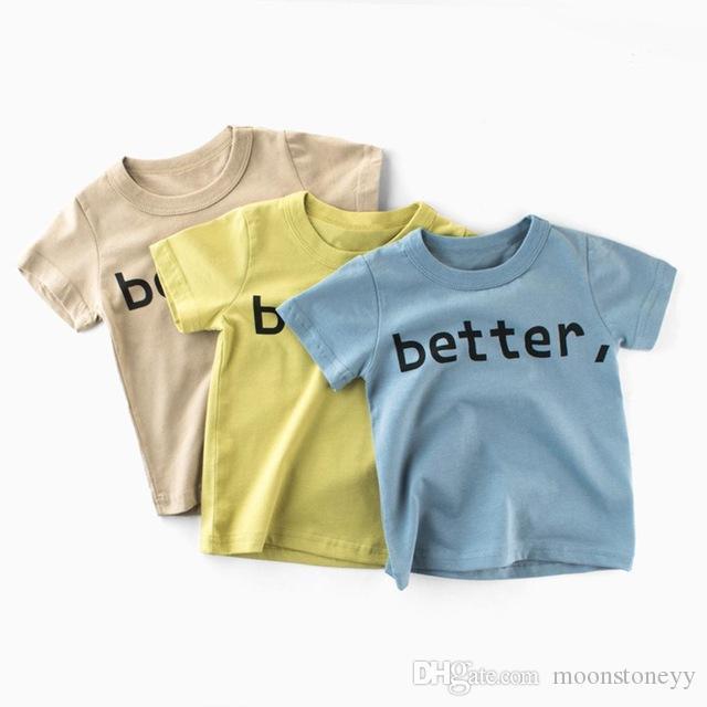 Menino de algodão de manga curta T-shirt com bonito Letter Printing Birthday Festival Presente