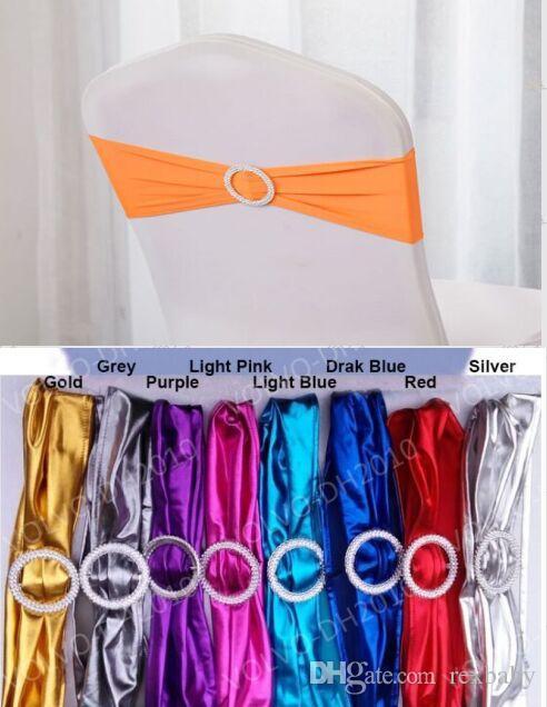 Bandas de Cadeira de Metal Spandex Metálico Com Fivela de Diamante / Cadeira Tampa Sash / Cadeira Banda Na Cadeira Capa Para Eventos de Casamento Decoração