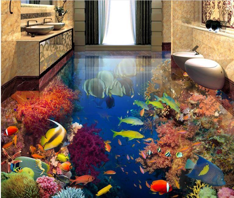 Mural del piso 3D Peces tropicales mundo submarino Piso del baño 3D Papel pintado autoadhesivo impermeable del vinilo Moderno Etiqueta engomada del baño de la sala de estar moderna