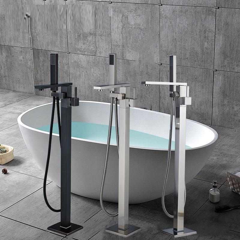 Torneira da banheira Montada no chão Torneira da banheira Torneira misturadora de chuveiro Torneira de água quente e fria com torneira de banho LED