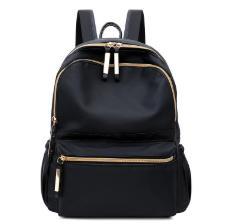 Große Kapazität von Taschen Mode Frauen Schwarz Small Rucksack-Spielraum Oxford Cloth Handtasche Schultertasche Damen Black Zipper