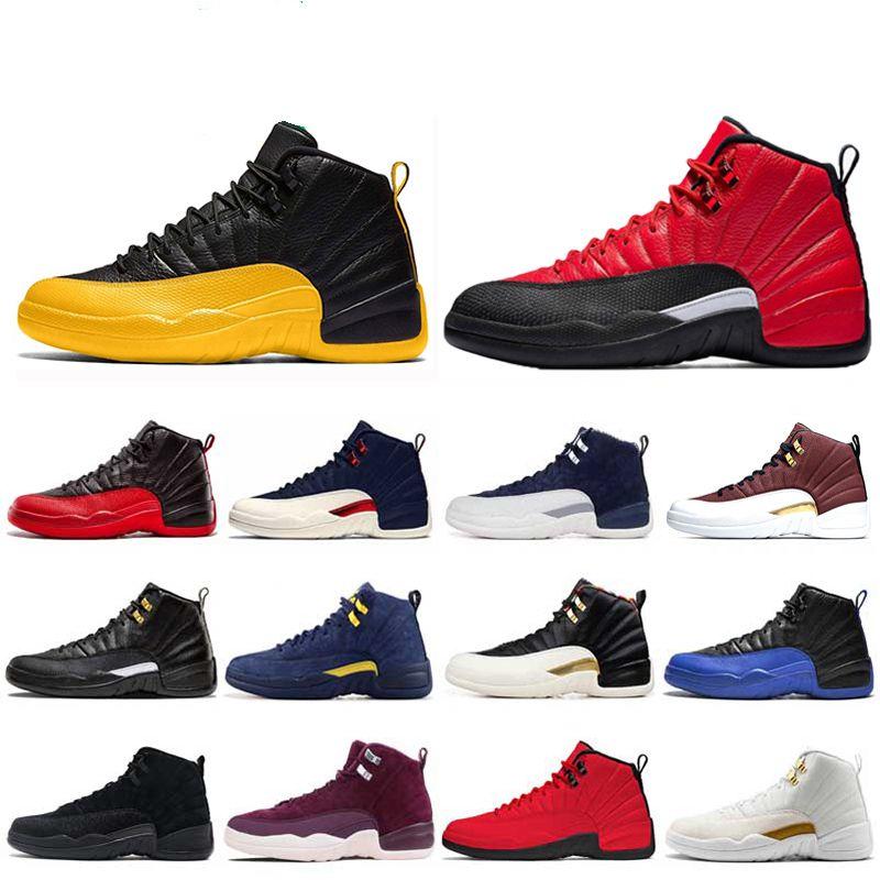 새로운 12 12S는 농구 신발 REVERSE 독감 GAME 게임 로얄 FIBA 다크 그레이 OV 흰색 남성 스포츠 트레이너 스니커즈 7-13 망