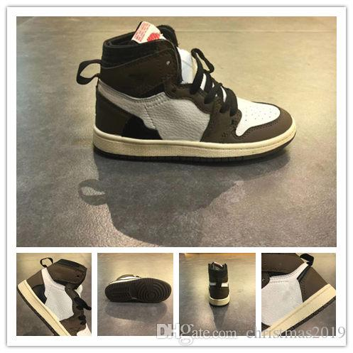1s Travis nero scuro moka TOP Factory Version 1 scarpe da basket designer inverse Sneakers KIDS Nuovo 2019 Sneakers EUR26-35