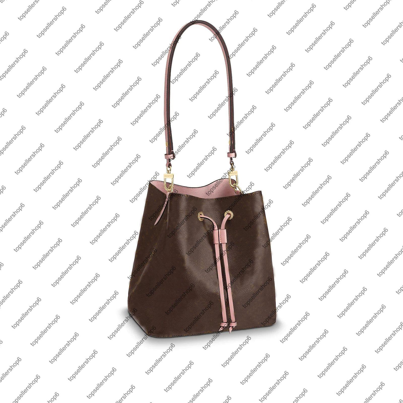 M44022 M43569 NeONOe donne borsa secchiello tela vera pelle di vitello fiore stampa check borsetta borsa tracolla borsa a tracolla