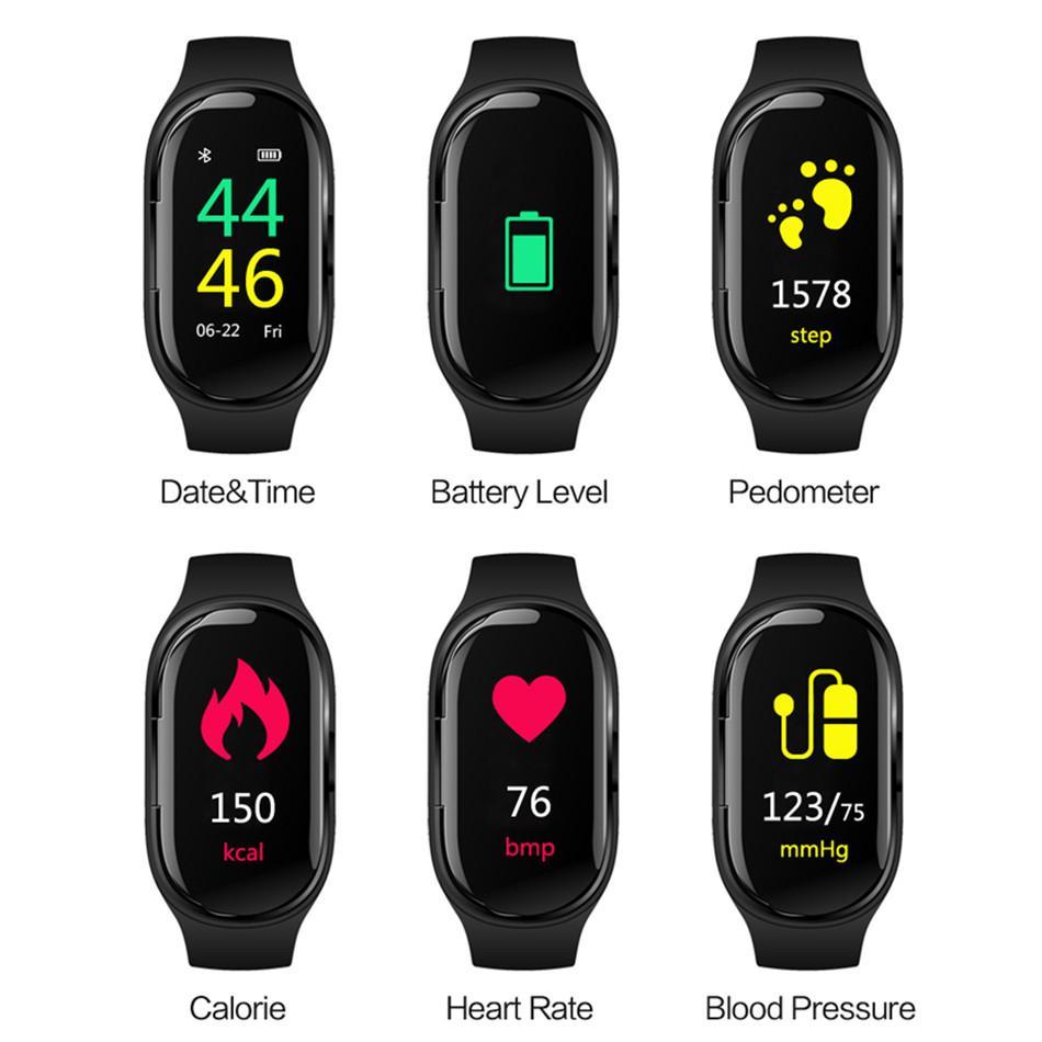 M1 سماعة بلوتوث مع AI الذكية ووتش رصد معدل ضربات القلب الذكية الاسورة طويل وقت الانتظار للياقة البدنية سوار الرياضة ووتش