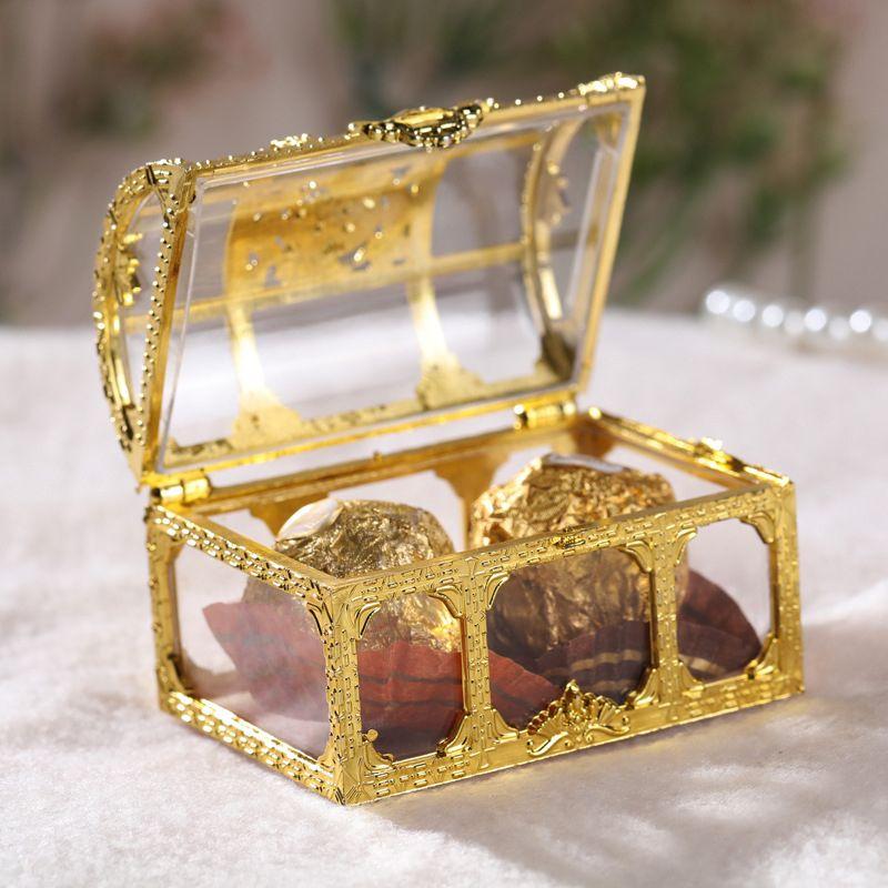 كنز الصدر مربع حلوى الزفاف صالح البسيطة هدية صناديق الغذاء الصف البلاستيك مجوهرات شفافة Stoage حالة
