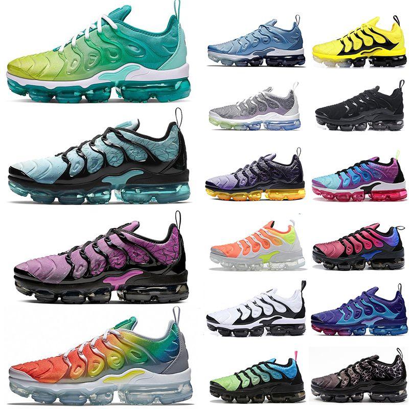 Nike Air Max Vapormax جديد الأبخرة تينيسي زائد حذاء رياضة هندسي نشط الفوشيه الروح تيل الاحذية وسادة مصمم الحذاء الأخضر رجل إمرأة المدرب Maxes حجم 12