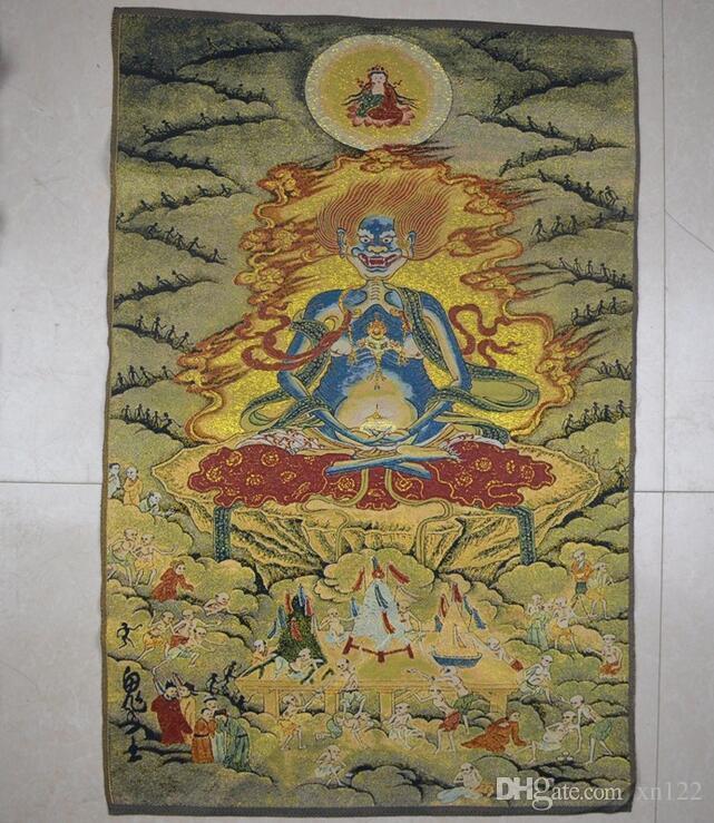 Оптовая парчи картины шелковой нежной вышивки картины Тибетского Будда Thangka Tangka машина вышитого призрак король Thangka живопись ч
