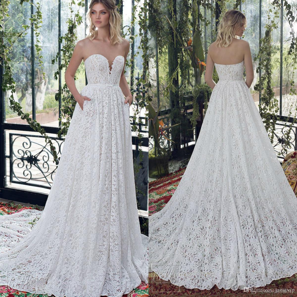 Limor Rosen 2019 una línea de vestidos de novia cariño de encaje sin mangas barrido tren vestidos de novia boho playa bohemia más tamaño vestido de novia