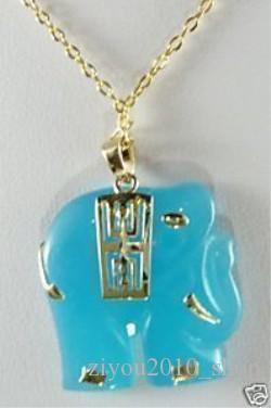 Real Jade Smycken Naturlig färg Jade Elephant Pendant Halsband Gratis Frakt Gratis Kedja